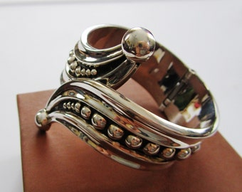 Sterling Silver High Fashion Abstract Swirl Cuff Bracelet