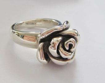 Sterling Silver Rosebud Flower Ring