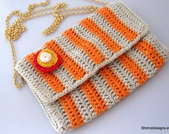 Orange Striped Crossbody Crochet Bag w/ Gold Plated Chain and a Magnetic Snap. Decorated With a Flower Pin. Fully Lined. OOAK. 100% Cotton.