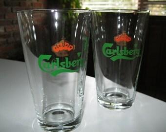 Carlsberg Beer Glasses, Set of 2 Carlsberg Bar Glasses