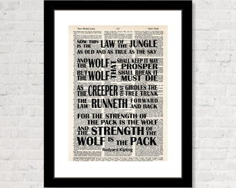 Rudyard Kipling Quote Now This is The Law of The Jungle art dictionary page typography print  vintage dictionary page