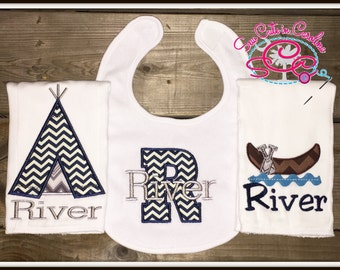 Personalized Teepee and Canoe Bib and Burp Cloths Set