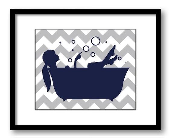 Bathroom decor bathroom print gray grey navy blue girl in a for Navy blue and grey bathroom decor