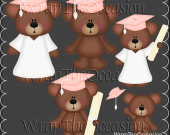 Pink/White Graduation Bears Clipart