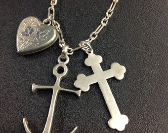 Sterling silver faith,hope and charity necklace