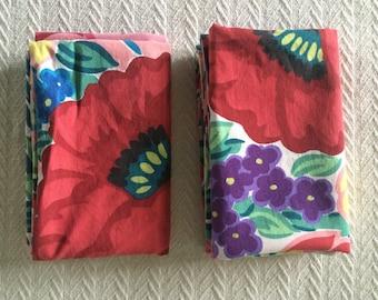 Vintage Set of Bold Floral Pillowcases - Standard Size