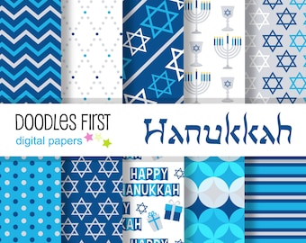 Hanukkah  Digital Paper Pack Includes 10 for Scrapbooking Paper Crafts