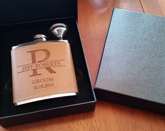 1 Groomsmen Leather Flask Set for Weddings, Best Man Flask-Groomsmen Flask- Bachelor Party Flask-Groomsman Flask-Personalized Wedding Flask