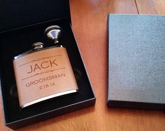 10 groomsman leather flask gift set weddings, best man flask-groomsman flask- bachelor party flask-groomsman flaskflask