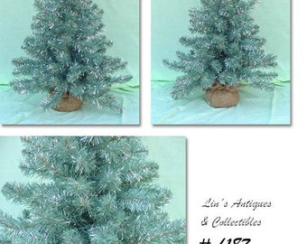 Vintage 3 Ft. Green and Silver Christmas Tree with Balled Burlap Base (Inventory CH187)