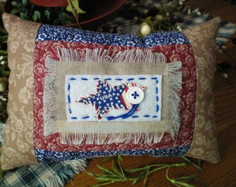 Handstitched Strip-Quilted USA Primitive Americana Pillow ~ Red, White & Blue ~ Patriotic