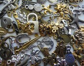 100 pcs. Antiqued Gold and Silver Tone Metal Alloy Charms & Pendants - Mixed - Assorted - Jewelry Supplies