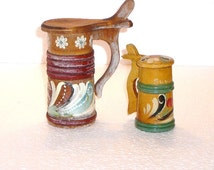 Swedish Beer Mugs Decorative Medieval Style Small Wood Beer Mugs Scandinavian Mid Century Design 70s Shabby Chic Rustic Decor @95