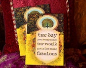 The Day You Were Born - 2pc Greeting Card Pack by Angi and Silas - Fabulous Peacock - BUY ONE Get One FREE