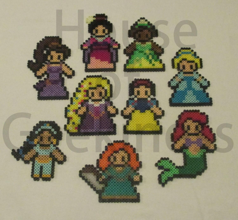 Princess Beads: Disney Inspired Princess Perler Bead Magnets