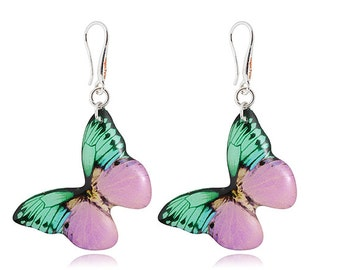 Lilac butterfly earrings Purpl mint butterfly jewelry  mint earrings  Holiday jewelry summer inspiration Light orchid earrings Only for her