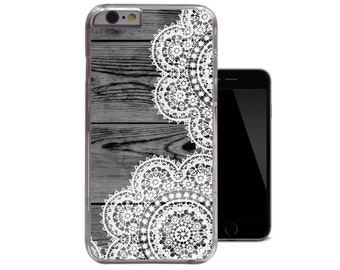 Dark Wood White Lace iPhone 6 Case iPhone 5 5s Case iPhone 5c Vintage iPhone 4 4s Clear Case (A250)