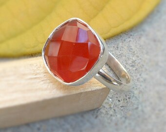 Red Onyx 925 silver Ring Red onyx Ring Faceted Red Onyx Stone Gemstone Birthstone Rings Dark Red Ring women Gift Ring Sz 4 5 6 7 8 9 10 11