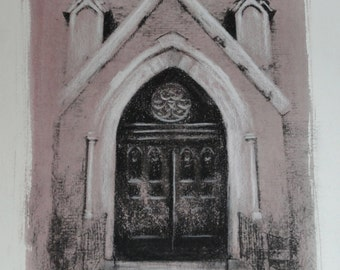 Original Charcoal Drawing, Black and White Art, Gothic Medieval Church Door, Ancient Architecture, OOAK by Julianne French, FREE SHIPPING