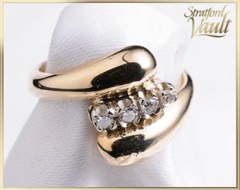 Ladies Diamond Right Hand Ring ~ 10K Yellow Gold ~ 0.08ctw Genuine H/SI1 Single Cut Diamonds ~ Vintage 1980's ~ STR16058 ~ GIA ~ 950.00