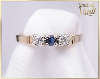 Vintage PPF ~ Sapphire and Diamond Ring ~ 14K Yellow & White Gold ~ 2.75mm Sapphire ~ 0.14ctw Genuine Diamonds  ~ STR16032 ~ GIA ~ 1200.00