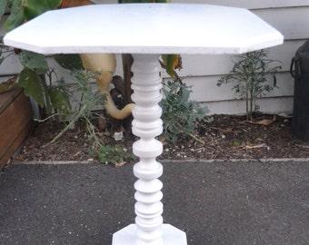Vintage Pedestal table white wood display mid century table
