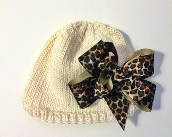 Hand Knit Baby Hat Cream hat with large Cheetah print double bow