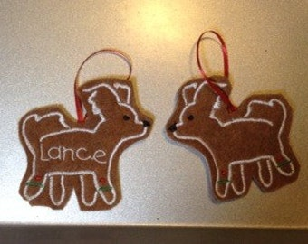 Papillon Personalized Felt Gingerbread or Angel Ornament