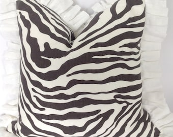 Pure 100% Linen Zebra print with Linen Ruffles Pillow cover