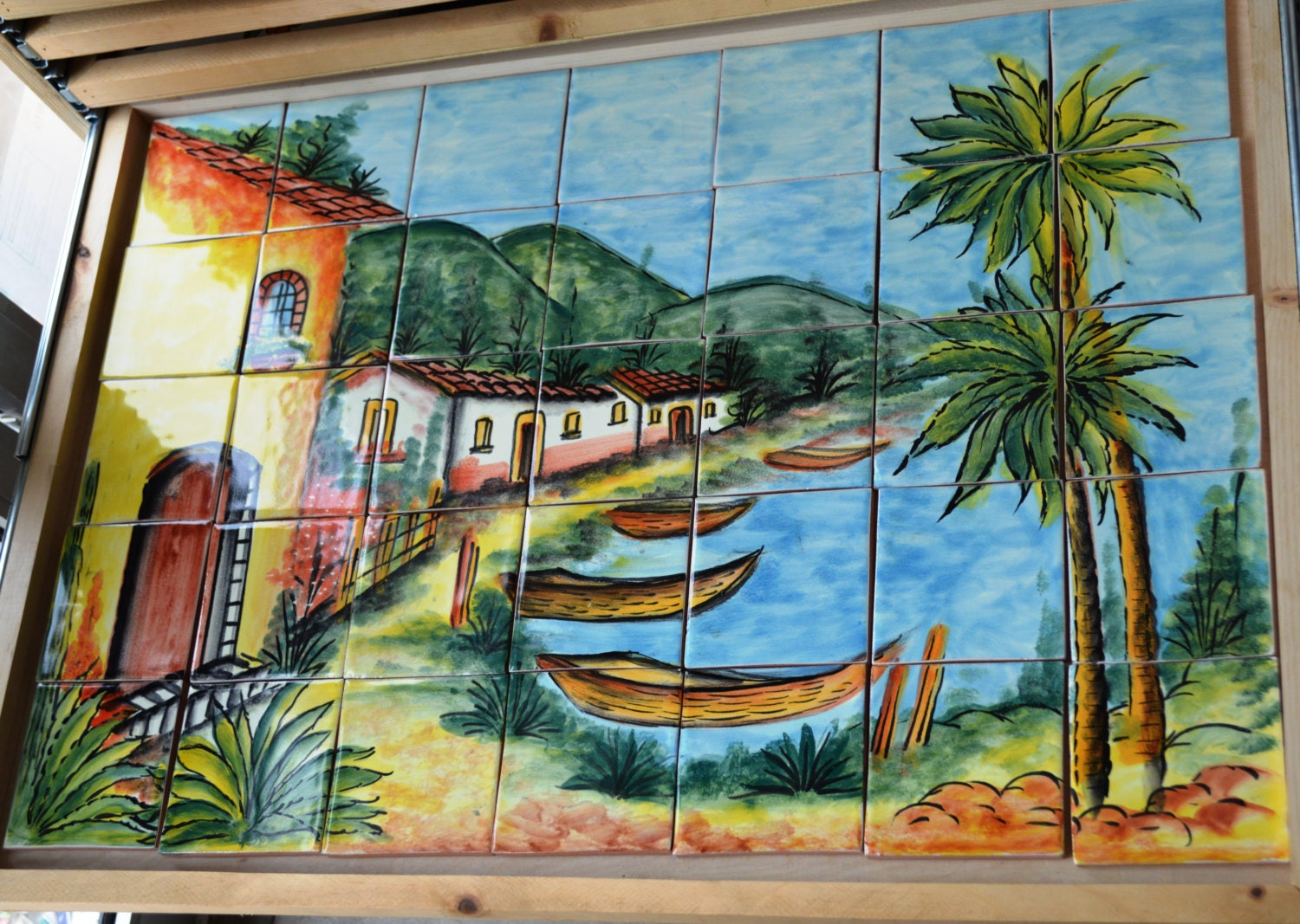 35 pieces mexican tile wall mural mural at iguana grill a mexican restaurant in birmingham