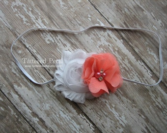 White and coral headband, coral headband, white headband, coral and white headband, white baby headband, baby headband, girls coral headband