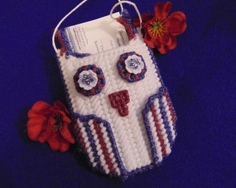 Owl Ornament  Gift or Business Card Holder Needlepoint Red White Blue Owl Decor