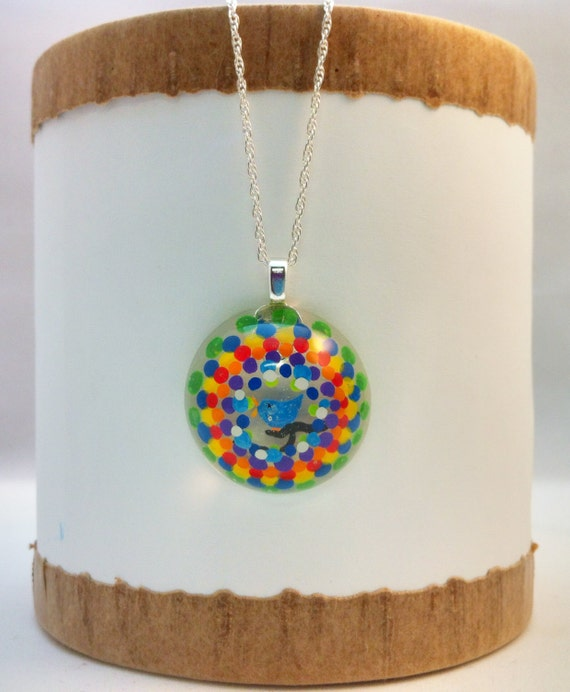 Hand painted  resin pendant with multi-colored polka dot peephole & blue bird  - Multi-layer acrylic painting