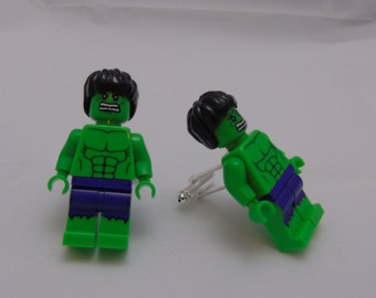 Hand Made NOVELTY Super hero HULK Cufflinks~ Ideal Gift WEDDING ~ Same Day Dispatch ~ Made using Lego(r) Compatible Pieces
