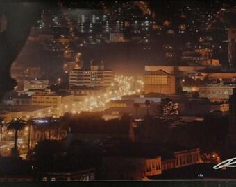 "Photo: Valpo at night, Chile (18"" x 12"" print) (front signature)"