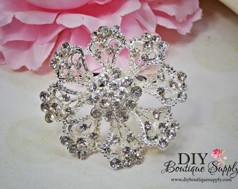 Wedding FLower Crystal Brooch Pin Rhinestone Brooch - Wedding Bridal Accessories - Brooch Bouquet - Cake Brooch Sash Pin 55mm 525198