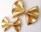 Metallic Gold Bow - Baby Girl Toddler Headband or Hair Clip - Kids Hair Accessories