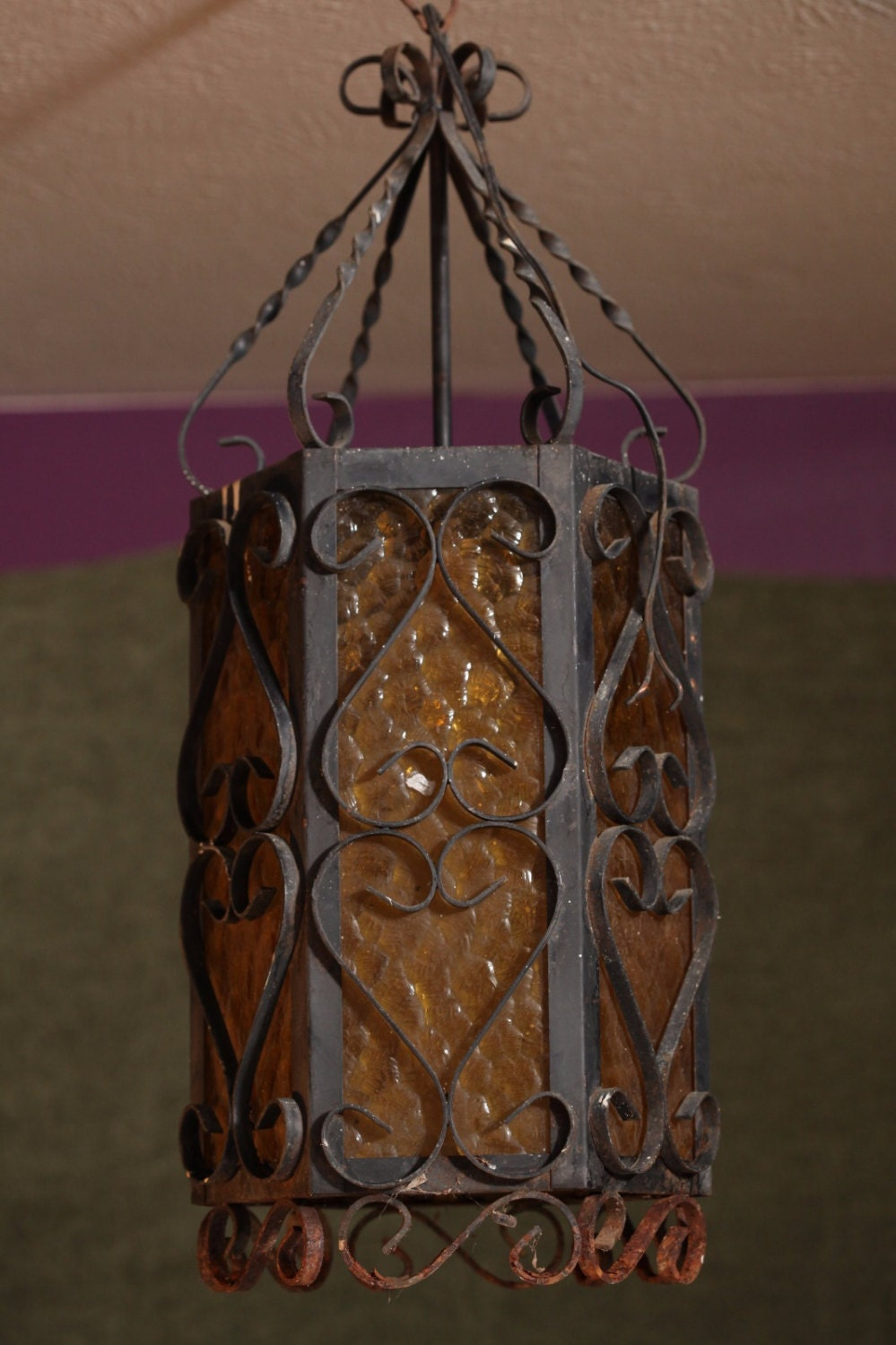 Vintage old black ornate rustic iron metal spanish chandelier for Rustic wire chandelier