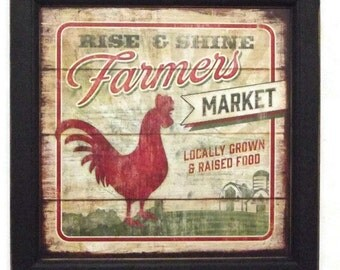 Rise and Shine, Farmers Market, Rooster Picture, Art Print, Country Decor, Wall Hanging, Handmade, 14x14, Custom Wood Frame, Made in the USA