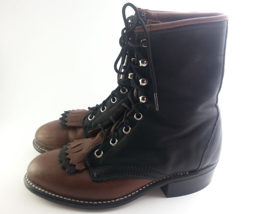 black and brown two tone vintage laredo justin boots by