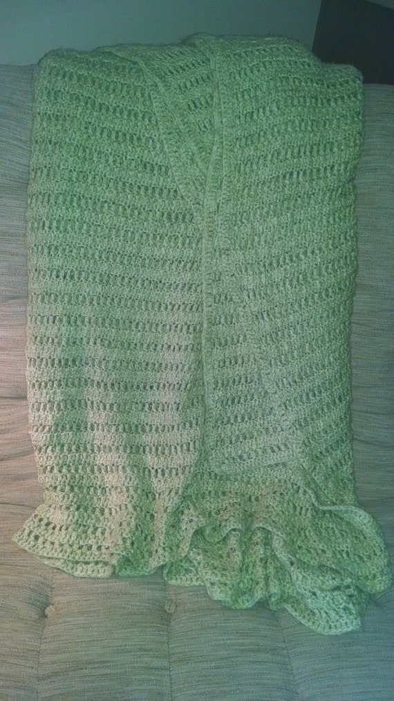 Crochet Queen Size Blanket Pattern : Winter Green Crochet Handmade Blanket. Fits by CrochetbyAShay
