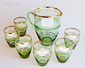 Vintage 1930s Green Glass and Gilt Art Deco Lemonade Set Jug and Glasses
