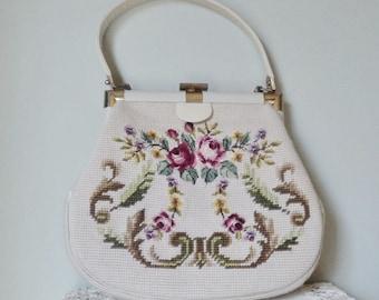 Needlepoint Vintage Floral Handbag