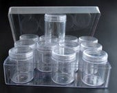 EZ Clear Acrylic Storage box with 12 Clear Containers and Lids