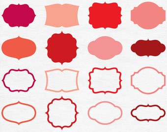 digital red labels red frame clipart coral borders burgundy clip art tags rounded shapes christmas banners valentines day vector