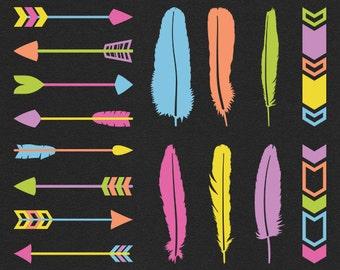 Vector arrow and feather clipart / neon tribal borders / festival boho clip art / bright arrow designs / geometric shapes / digital graphics