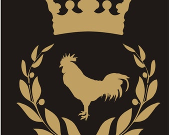 French Reusable Stencil-  WREATH Crown with Rooster- 4 sizes available- Create Pillows and Signs!