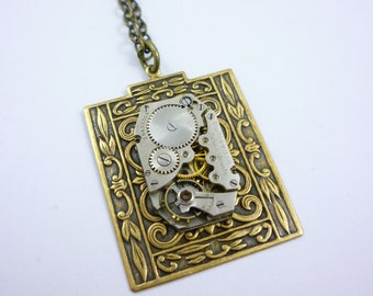 SteamPunk Necklace with Waltham Watch Movement on Bold Rectangular Pendant by VictorianFolly