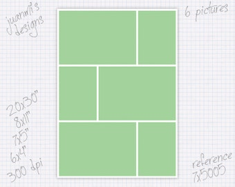 Photo collage template 6x4 7x5 8x11 20x30 inches (6 pictures) ref 7x5005