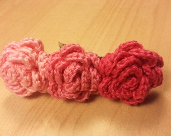 Crochet Three Flower Hair Clip Shades of Pink